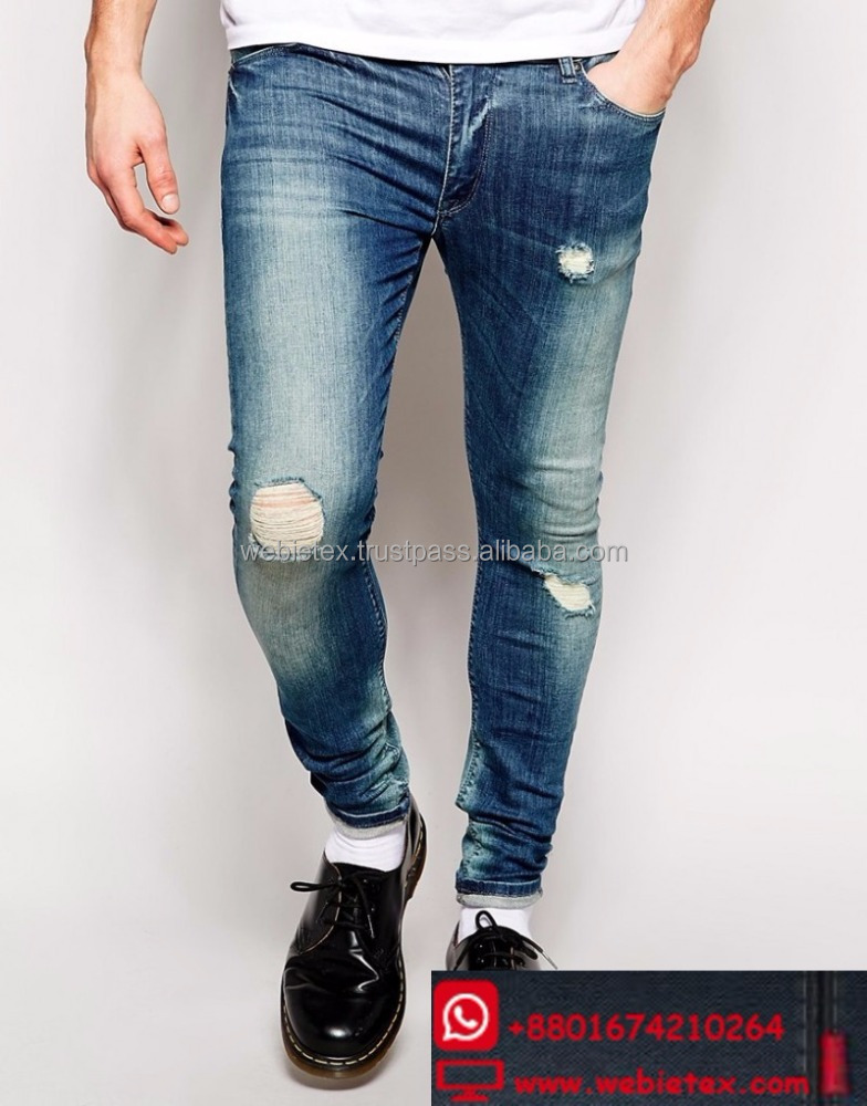 Ripped Jeans For Men, Destroyed Jeans, Washed Denim