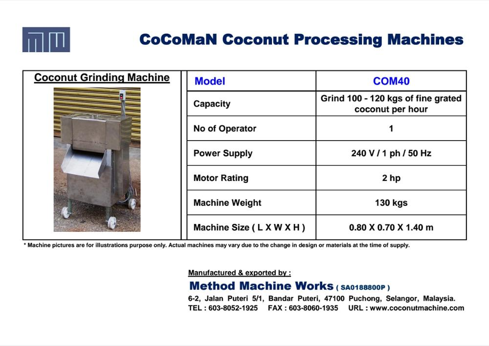 Coconut Grinding Machine COM40 For Shredding Coconut Flakes