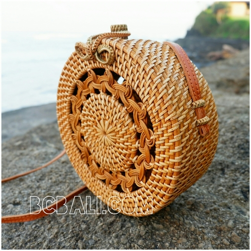 new rattan handbags circle design motif bow close handle leather