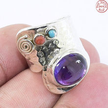 Exquisite coral turquoise amethyst jewelry ring offering 925 sterling silver ring