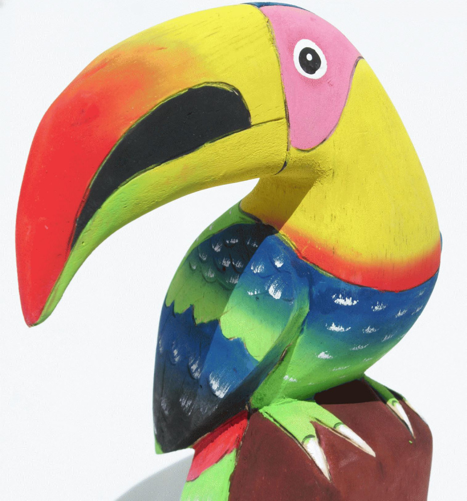Colorful Toucan of Balsa Wood Carving, Wooden Sculpture Bird, Wood Carvings for Sale, Traditional Woodcarving of Ecuador