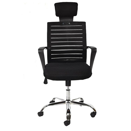 Linear Black Mesh Back Fabric Chair with Heavy Duty Twin Wheel Castor IP M3