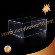 factory custom clear acrylic shoe boxes/perspex shoe box/display shoe box