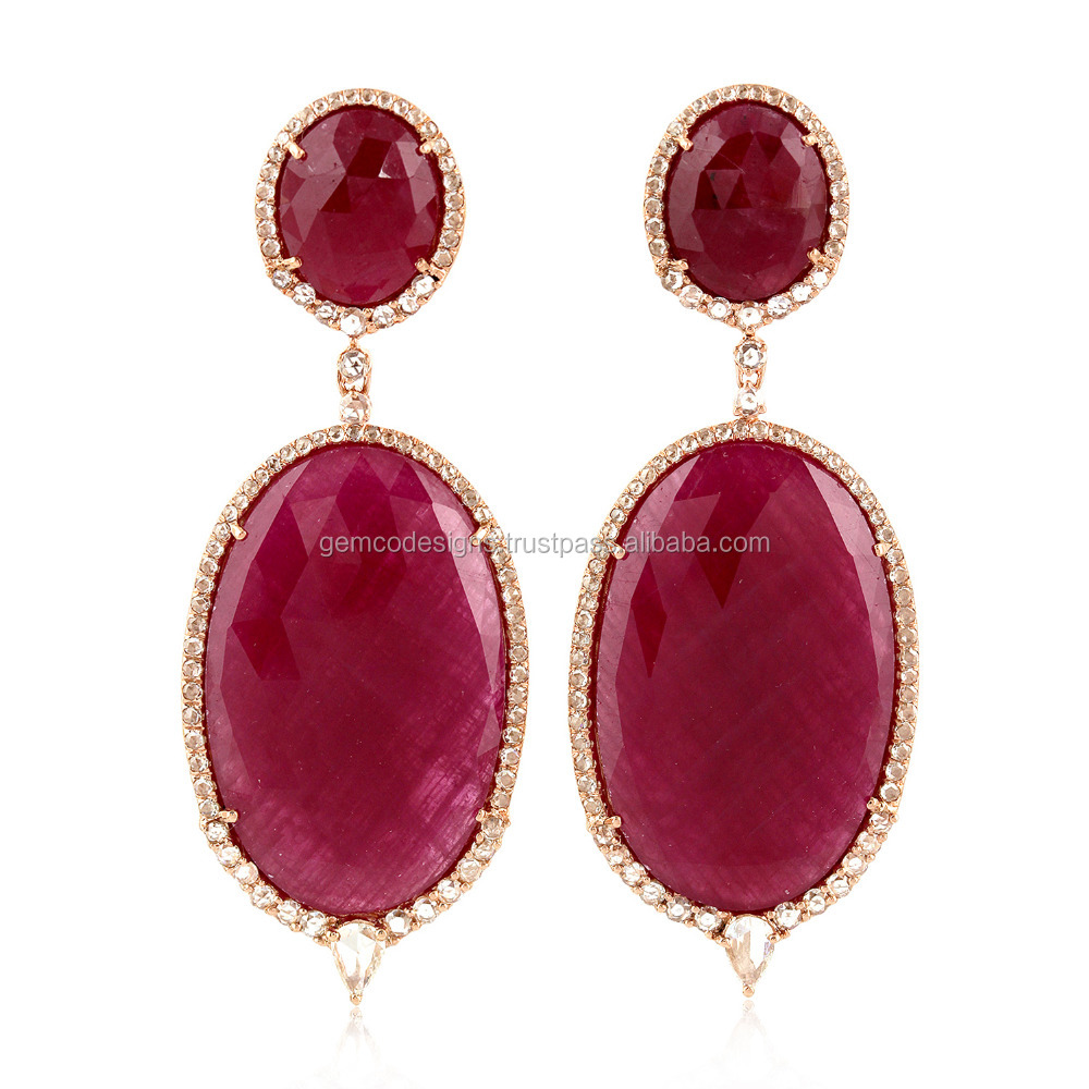 18kt Rose Gold Pave Diamond Designer Ruby Indian Jhumka 2017 Earring Wholesale Jewelry