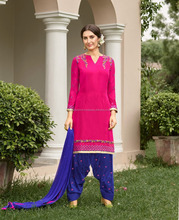 Indian Beautiful Color Combination With Embroidered Designer Panjabi Style Patiala Salwar Kameez