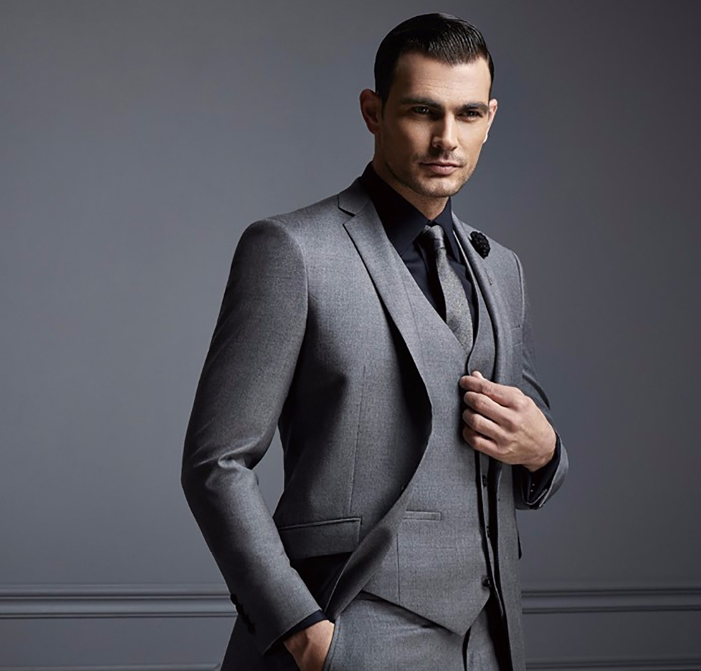 Mens Wedding Suits Black Slim Fit Wool Polyester Fashion