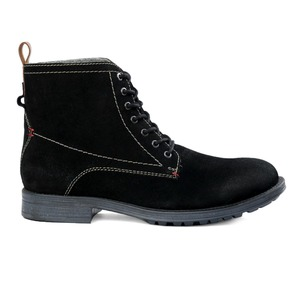 MEN'S BLACK SUEDE LEATHER FUR LACE-UP BOOTS ON TPR SOLE