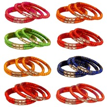 Gold Plated Multi Color Designer Glass Stone Bangles Size: 2.10 Set Of 8 Pairs