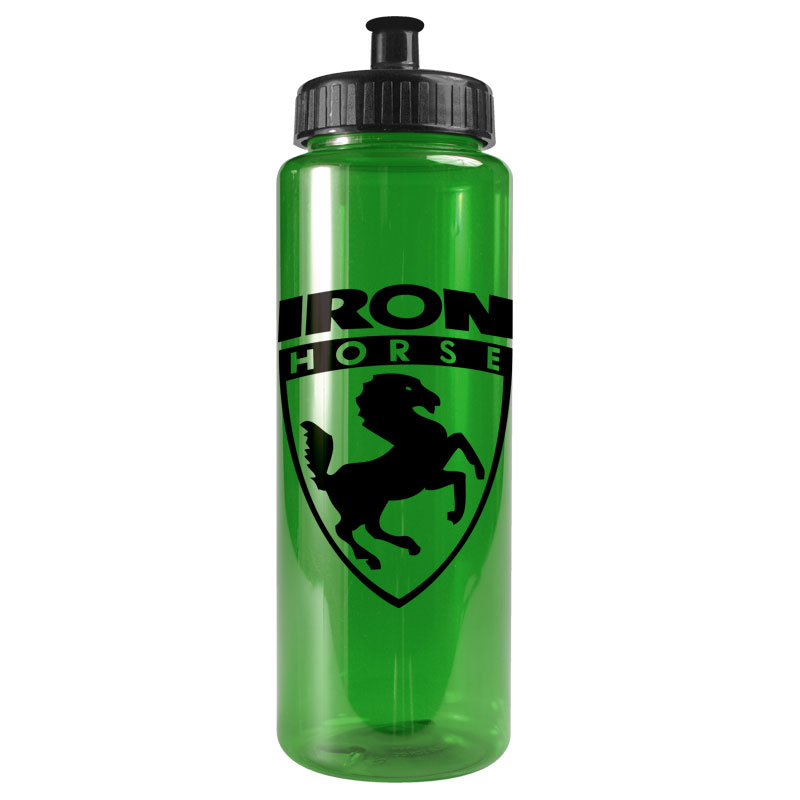 USA Made 32 oz Transparent Sports Bottle With Push And Pull Cap - BPA/BPS-free, FDA compliant and comes with your logo