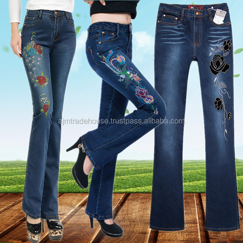 ladies jeans new hot design bell bottom one side embroidered
