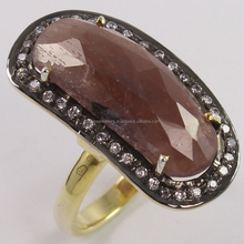 Gold Plated Natural MULTI SAPPHIRE & CZ Gems 925 Sterling Silver Ring, Indian Silver Jewellery, Online Silver Jewelry