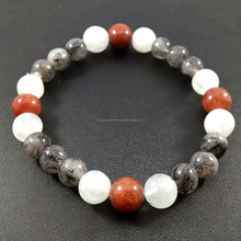 Natural rainbow moonstone,black rutilated & red rutilated quartz gemstone jewelry bracelet