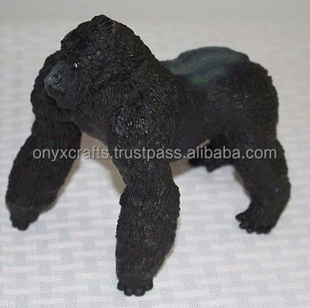 Jet Black Marble Gorilla Figurines in Cheap Price