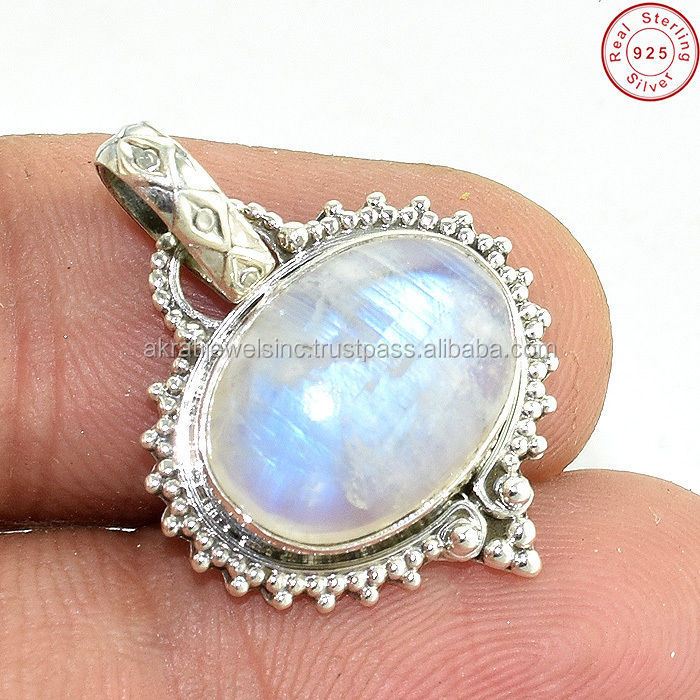 Crazy design rainbow moonstone gemstone 925 sterling silver pendant jewelry handmade supplier silver pendant