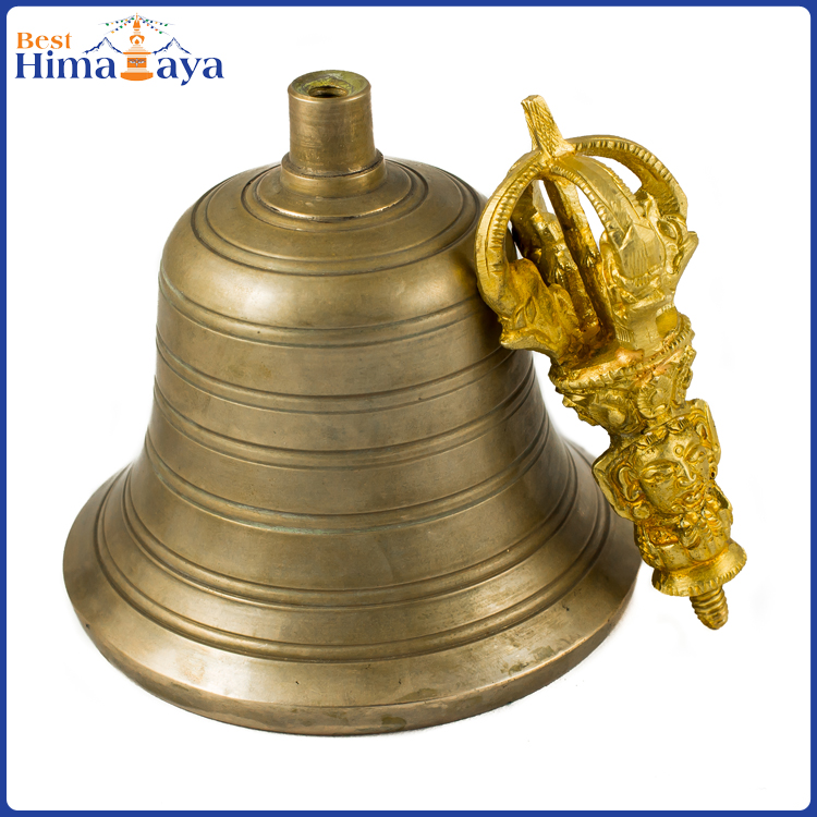 Buddhist Sacred Large Bronze Tibetan Bell and Bajra Set