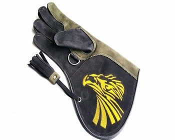 Quality Right Hand Double Layer Soft Genuine Nubuck Leather Falconry Gloves/Bird Handling Gloves/Pet Gloves.