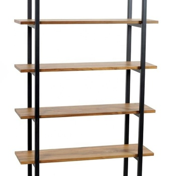 Solid Wood And Metal Bookshelf Vintage Industrial Bookcase- SOFIA