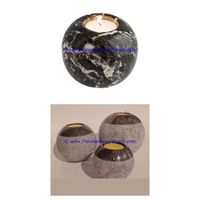 Exclusive Curving marble candle holders sphere ball shaped stands tea lights