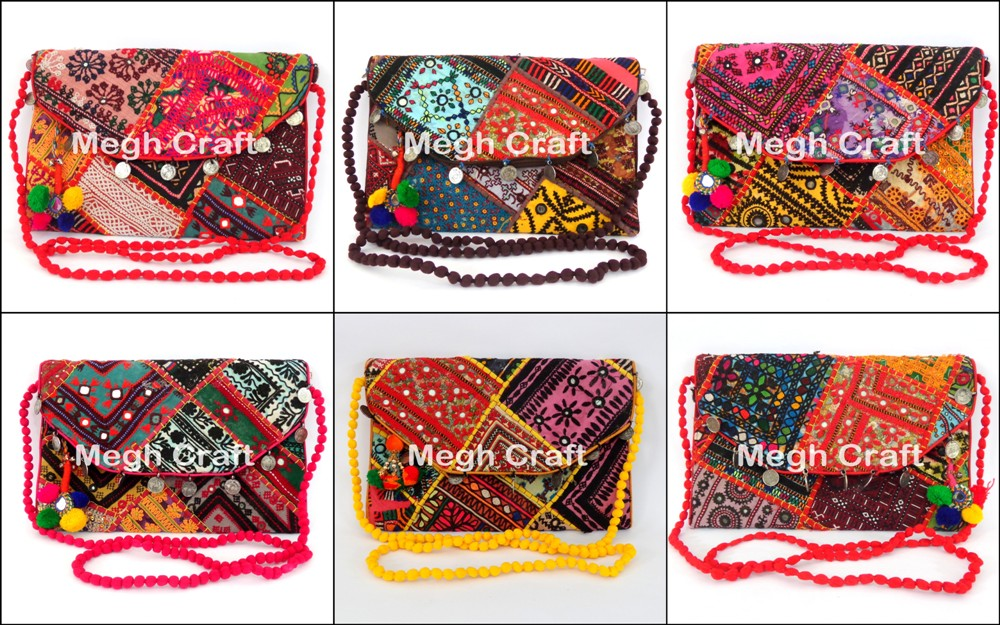 Bohemian Banjara Ethnic Handbag-Vintage Clutch Bag-Afghan Clutch Bag-Hand embroidery Coin Clutch Purse