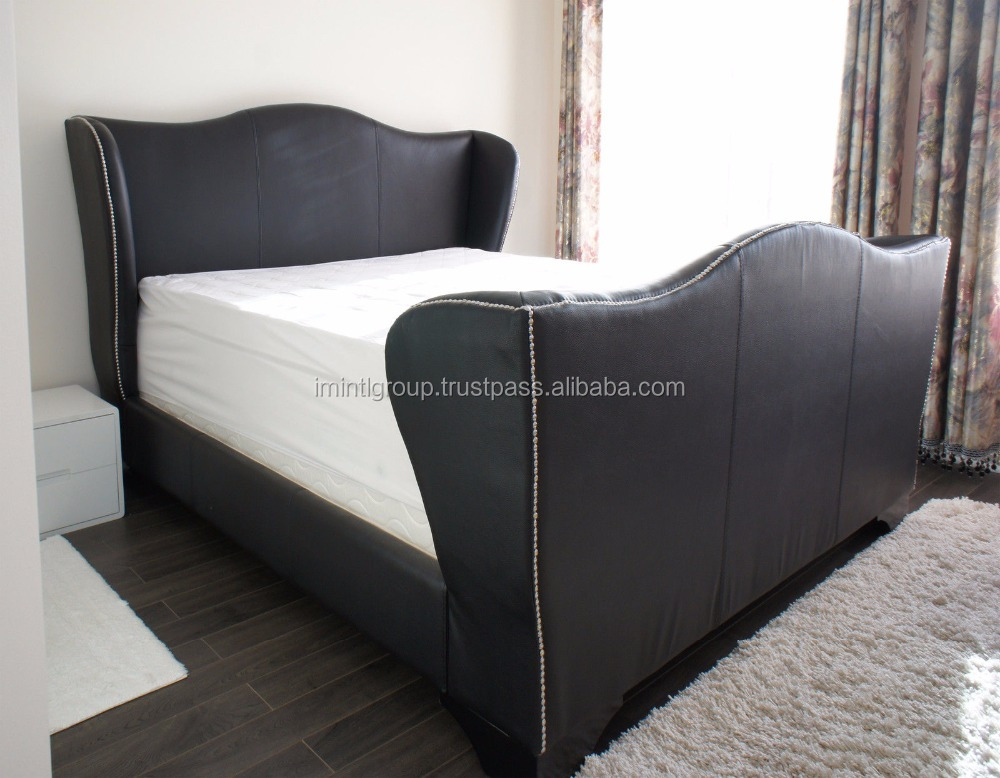 Finish leather, Genuine Cowhide Leather Solid Wood Size Bed Frame leather