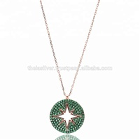 925 Sterling Silver Round Necklace Emerald Rose Gold Handmade Turkish Design Jewelry
