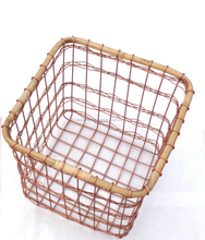 HOT SELLING SQUARE COPPER WIRE BAMBOO FRUIT VEGETABLE BASKET