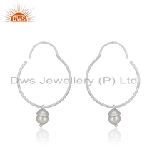 Wholesale Fine Silver Hoop Earring Natural Pearl Gemstone Earrings Jewelry Supplier