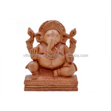 Wooden hand carved elephant Lord Ganesha temple sculpture