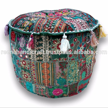 Traditional Handmade Round Ottoman Pouf Small Footstool Chair Embroidered India