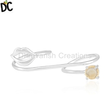 Natural Citrine Gemstone Lip Design Double Finger Ring 925 Silver Ring Jewelry Manufacturer