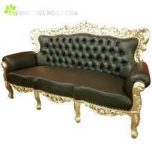 Antique Carved Wooden Leather Black Sofa Set 7 Seater Jepara Living Room Furniture