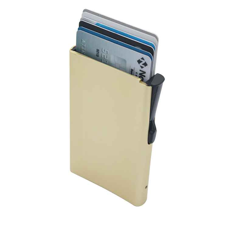 Blocking aluminum alloy pop card wallet automatic pop up slim metal rfid credit card holder