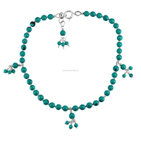 3-5mm Beaded Turquoise Handmade Jewelry Manufacturer 925 Sterling Silver New Anklet Jaipur Rajasthan India Single Piece Anklet