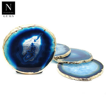 Healing crystals geode slices set cup home decor decoration irregular blue agate coasters