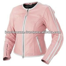 Women Genuine Cowhide Leather Pink Motorcycle Jacket, CE Body Protectors, Polyester Lining