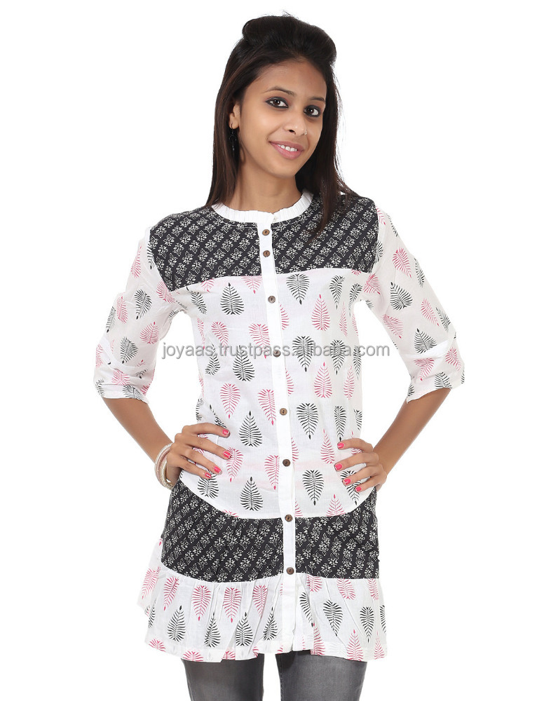 Ethnic Wear Traditional Black Round Neck 3/4th Sleeve Leaves Printed Cotton Women's Kurti
