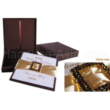 Chocolate Brown Diamon Brooch Embellished Thai Silk Boxed Wedding Invitation