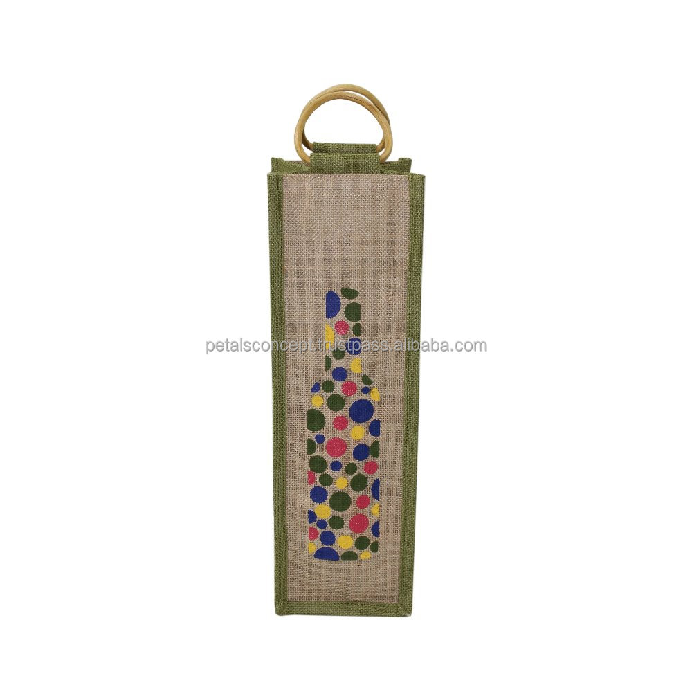 Jute wine bag/ one bottle Wine Carry Bag Jute/ Eco-friendly Wine Tote