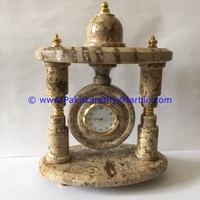 EXCLUSIVE MARBLE CLOCKS COLUMN PILLAR SHAPE Desk & Table Clocks HANDCARVED NATURAL STONE