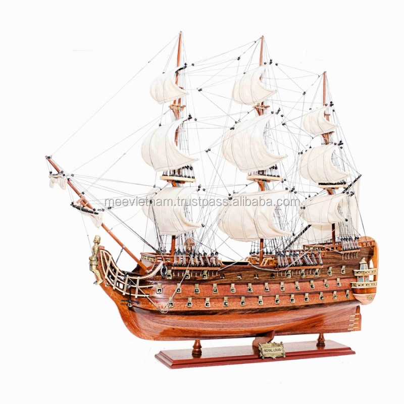 ROYAL LOUIS SHIP MODEL- HANDICRAFTED WOODEN SAILBOAT MODEL, HOME ECORATION