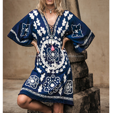 2017 New Fashion clothing manufacturers Heavy hand embroidered mexican dress for women Tunic Dress Stylish Kaftan Short Dress
