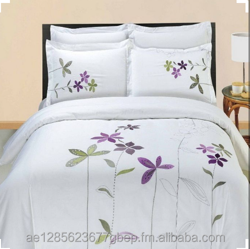 Five Stars Hotel 100% cotton Luxury Bedding Set White Embroidered Hotel Duvet Cover Set