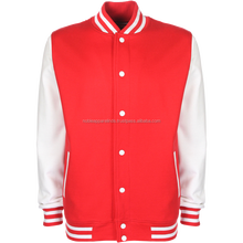 2017 New White Bomber jacket\Polyester Nylon Men Bomber varsity Jackets red and white color with button design jackets mens