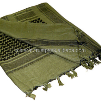 olive drab Shemagh Customized Military Shemagh Arab Tactical Desert Shemagh KeffIyeh Scarf Wrap 100 % Cotton
