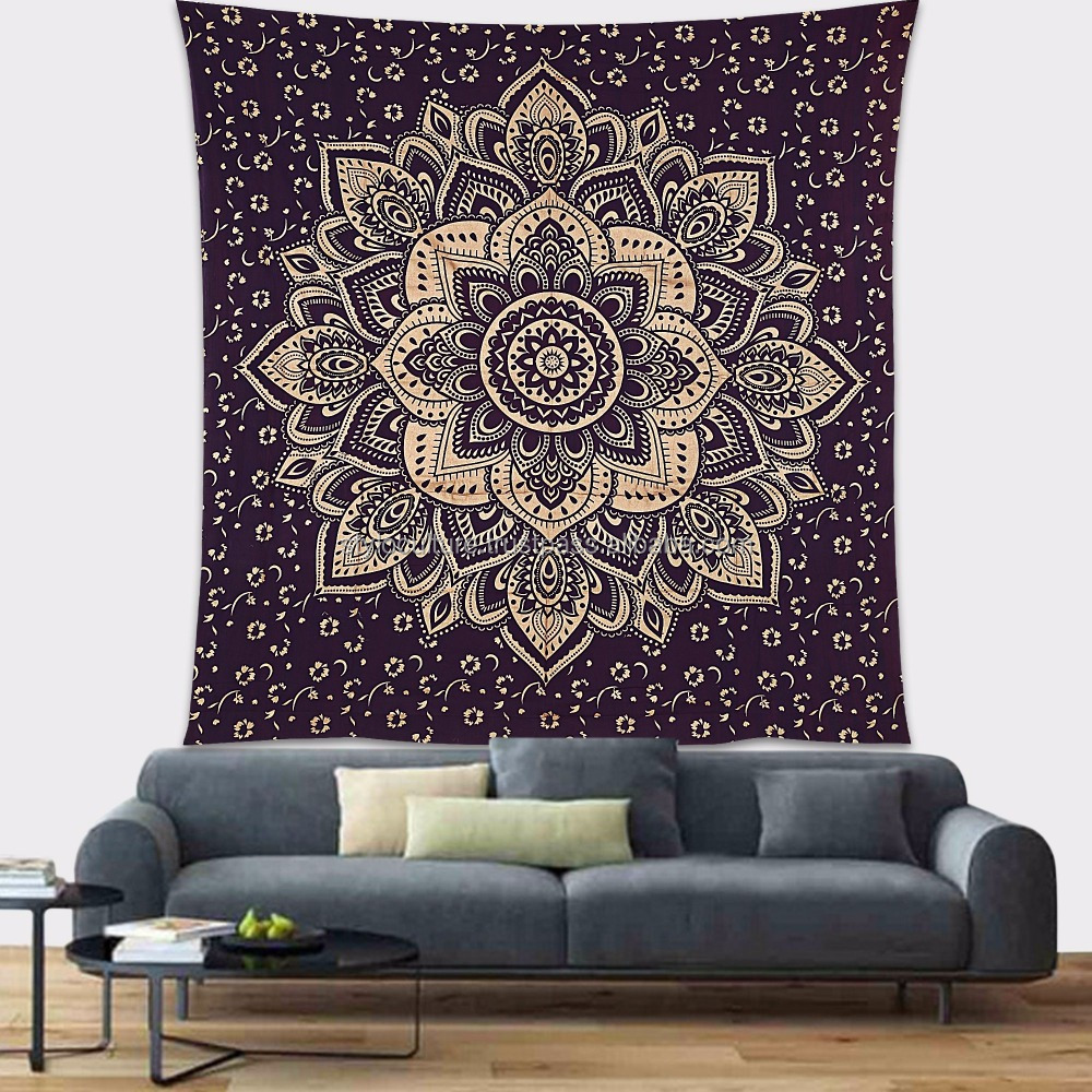 Best Selling Mandala Wall Tapestry Gold Curtain Printed 100% Cotton Home Decoration Floral Queen Mandala Wall Hanging Tapestry