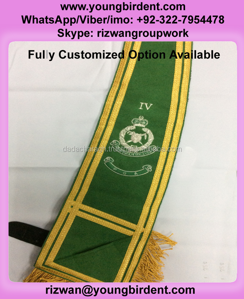 MALAYSIAN SASH WITH HAND EMBROIDERED BULLION WIRED FOR PGA HIGH QUALITY