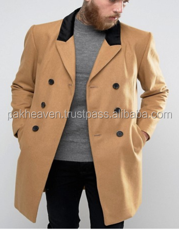 Wool Mix Overcoat with Velvet Collar Overcoat Trench Coat