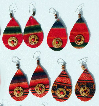 Red Peruvian Ethnic Ornament Tribal Dangle Earrings Peru Jewelry Wholesale