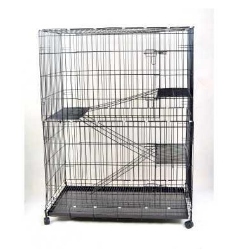 3 Level Big Cat Cage Portable Cat Cage with 4 Wheels