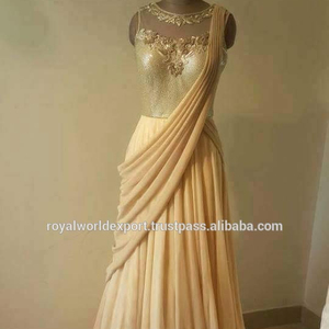 Indian Designer Gold Being Gorgeous Beaded Embroidery Mermaid Long Evening Dress 2015